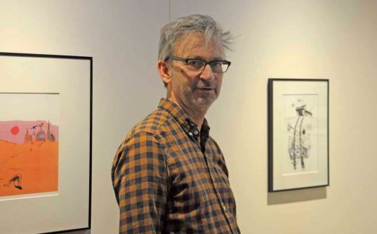 Tecknaren Magnus Bard på EWK-museet