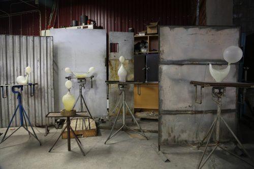 Glasblåsarpaus på Rejmyre glasbruk