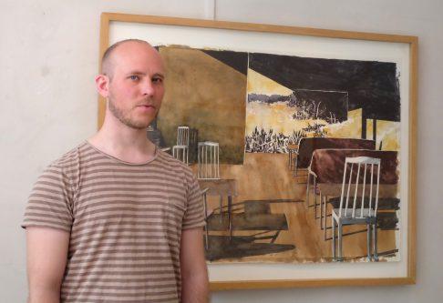Erik Söderholm visar vått måleri i 7B